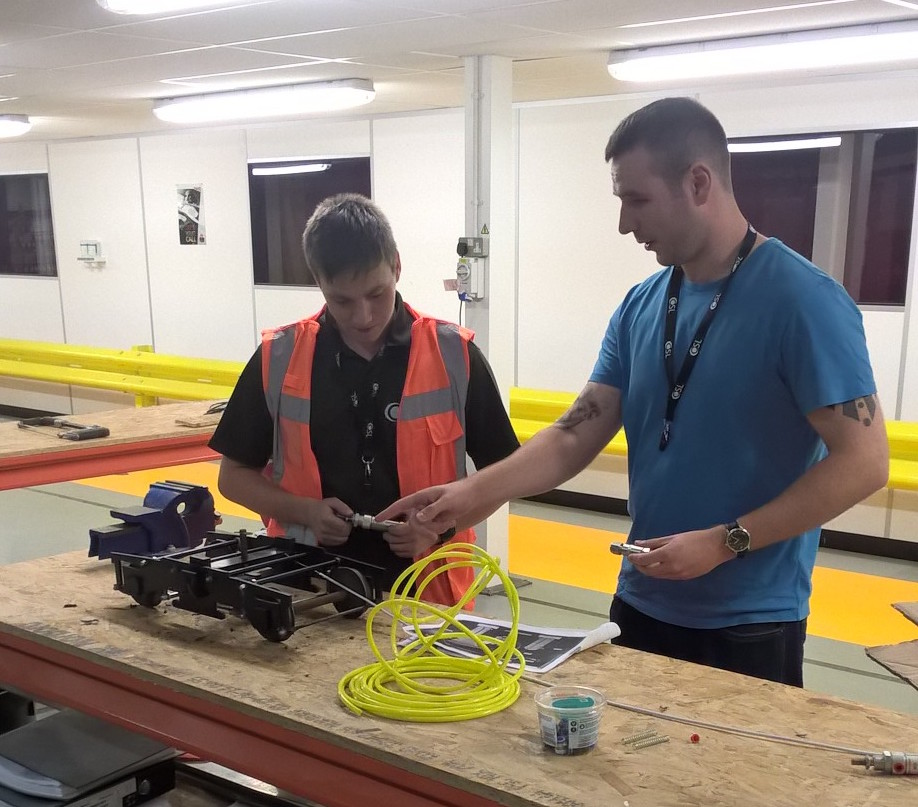 Calum and Joshua work on OSL graduate project for rolling stock
